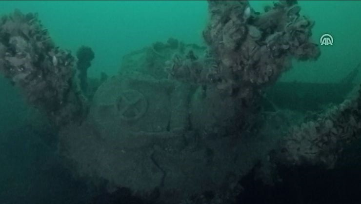 Remnants off the sunken German U-23 submarine.