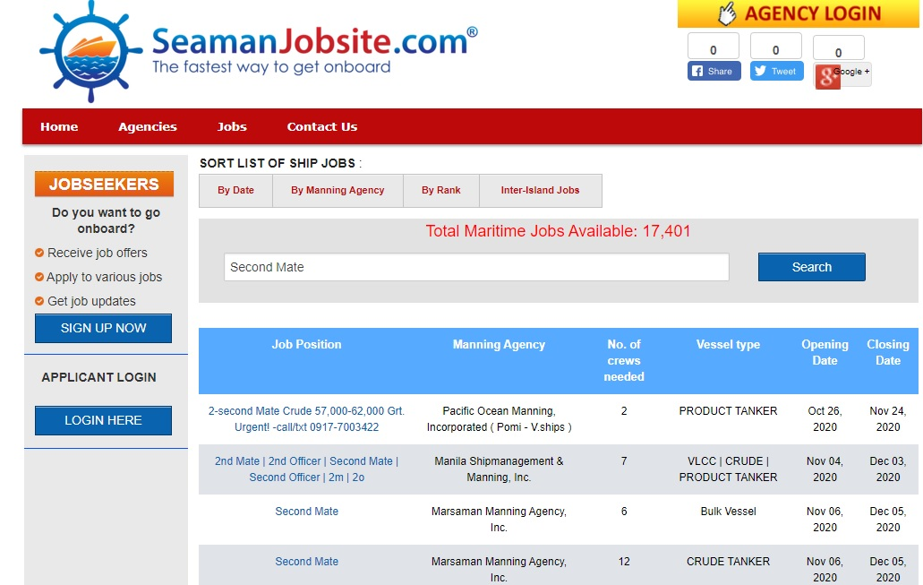 Seaman Jobsite homepge