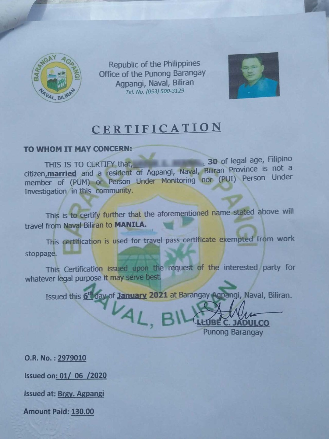 Brgy. Certification