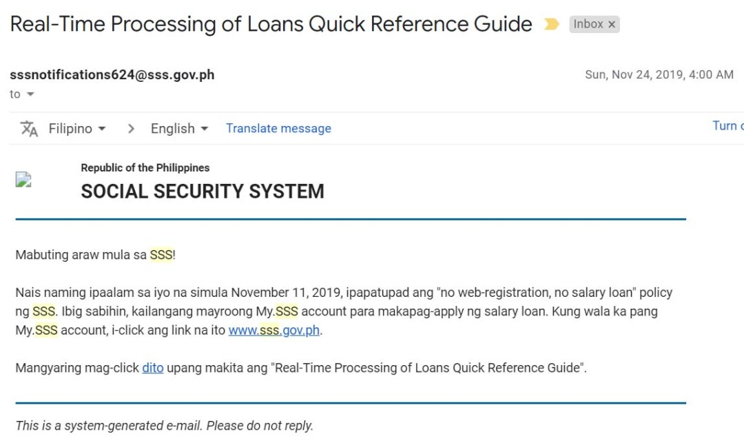 Online Registration to avail of the SSS Salary Loan
