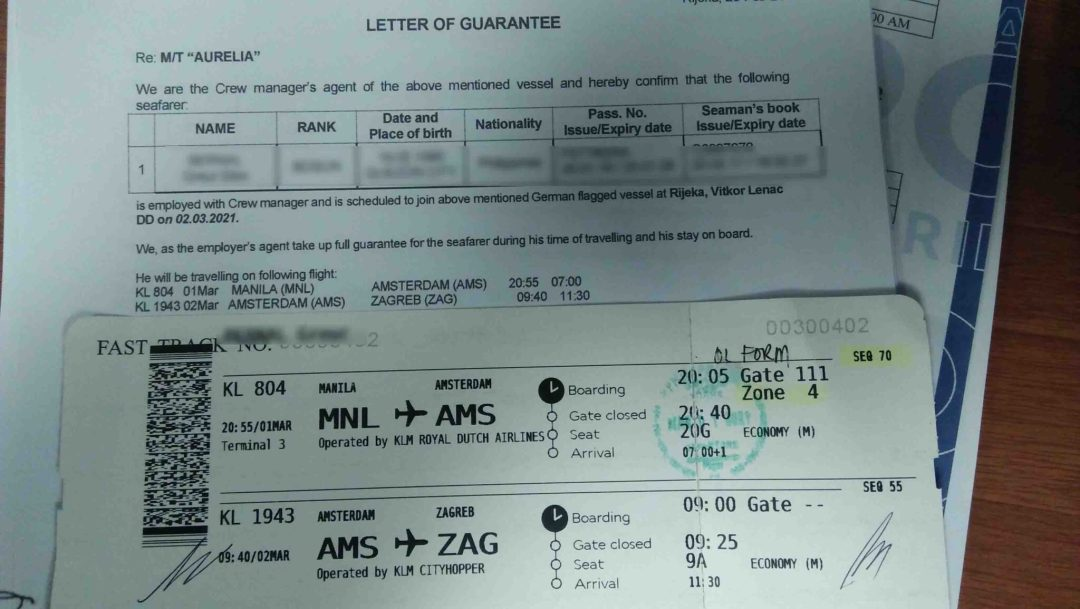 Letter of Guarantee and boarding pass