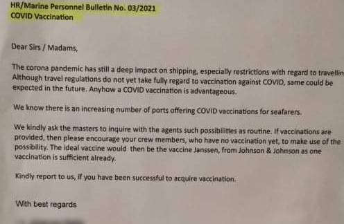 Shipowners encouraging vessel crew to get the free COVID-19 vaccine
