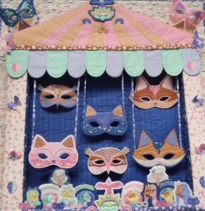 Kitties, owls and foxes on a 3-D quilt