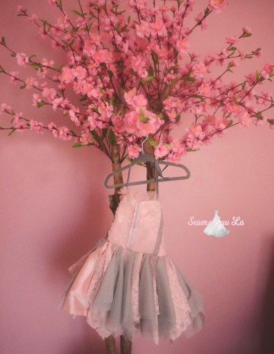 isla eve dress with cherry blossom tree pink and gray