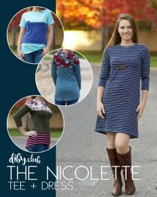 the nicolette tee dress sewing pattern release by diby club