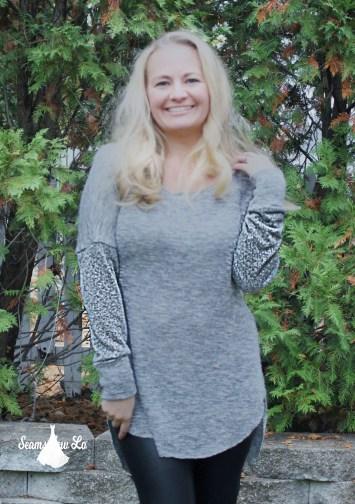 Petite stitchery Lulu Dolman Sewing Pattern women gray sweater knit 2