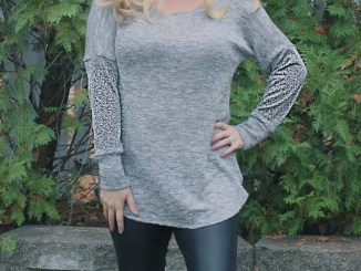 Petite stitchery Lulu Dolman Sewing Pattern women gray sweater knit 4