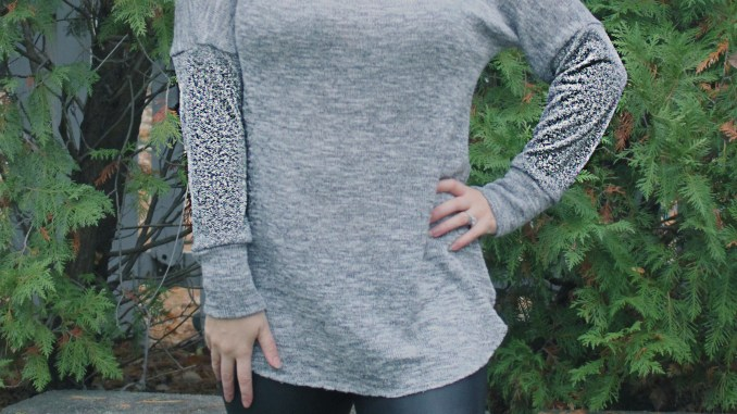 Petite stitchery Lulu Dolman Sewing Pattern women gray sweater knit 4