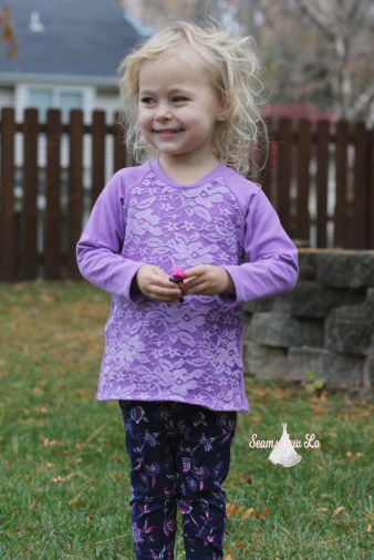 ellie and mac unisex raglan with purple lace 3