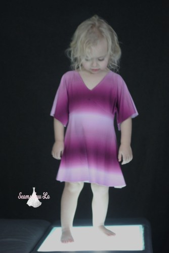 girls portia party dress sewing pattern in wine ombre double brushed polyester