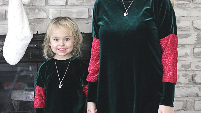 mommy and me christmas outfits velvet green and red sparkles