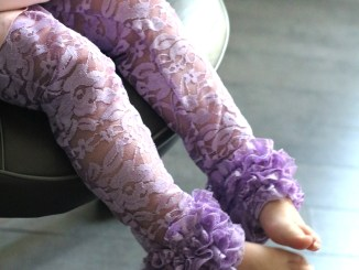 purple lace ruffled leggings sewing pattern