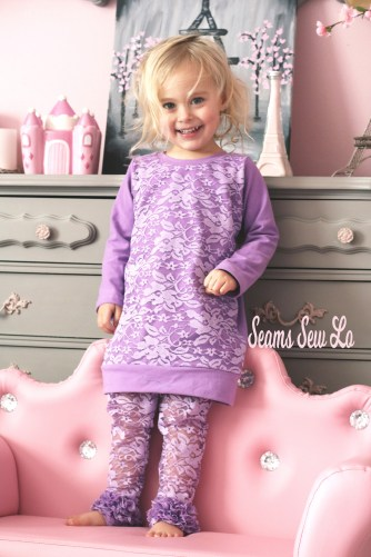 lace ruffle leggings matching dress with lace overlay sewing pattern purple