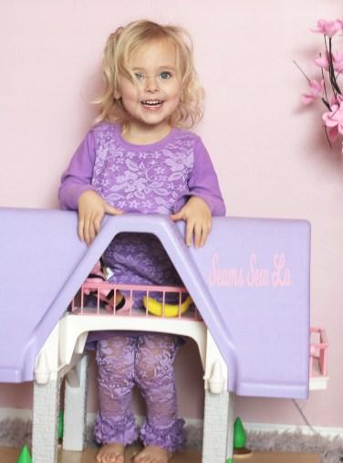 purple lace ruffle leggings matching purple lace dress for girls