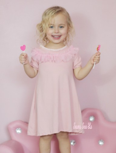 Peachy pie girls ruffle dress in pink ellie and mac