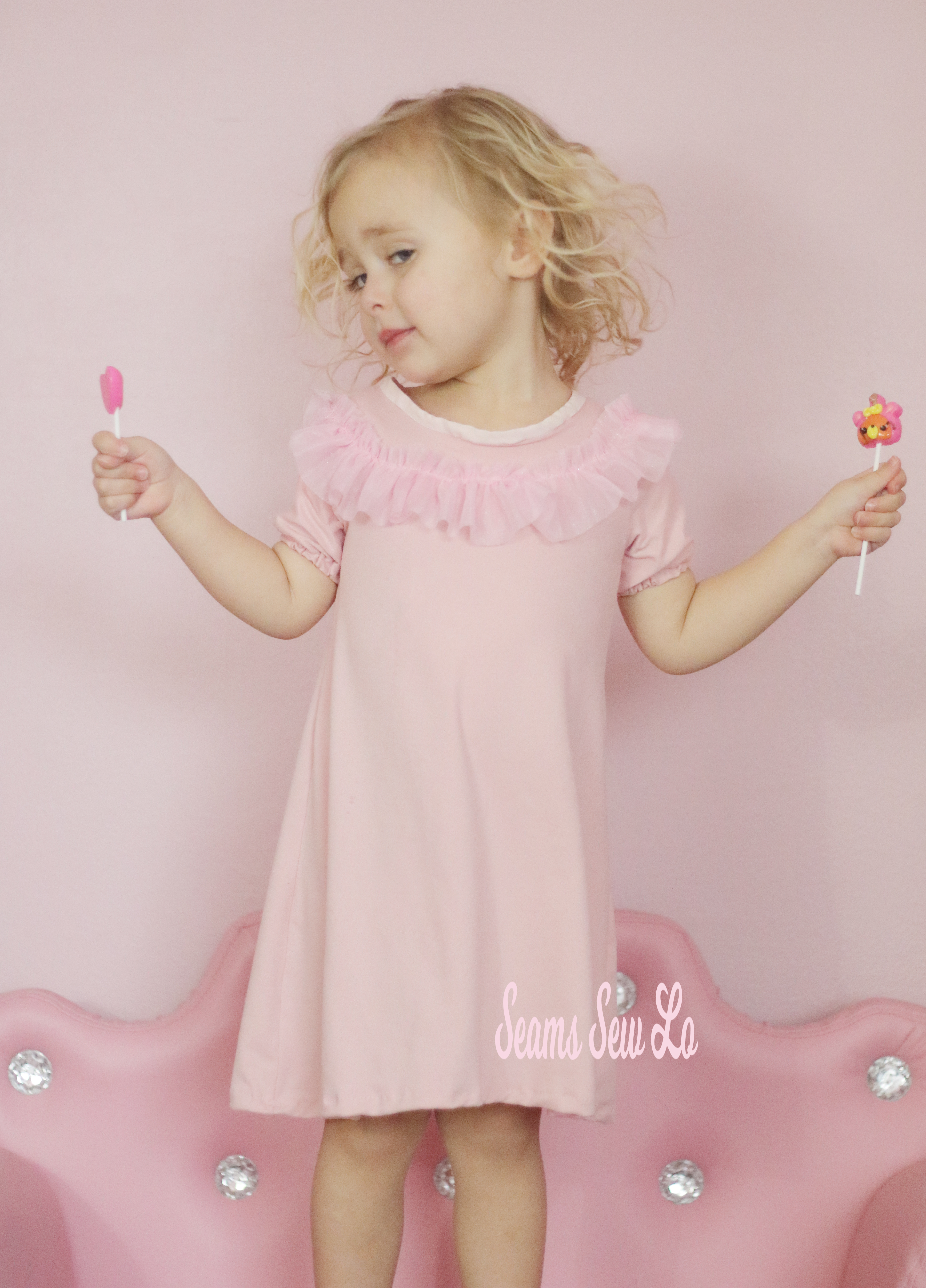 girls ruffle dress sewing pattern peachy pie by Ellie and Mac pink 1