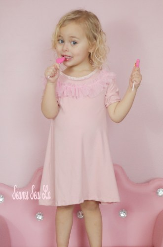girls ruffle dress sewing pattern peachy pie by Ellie and Mac pink 2