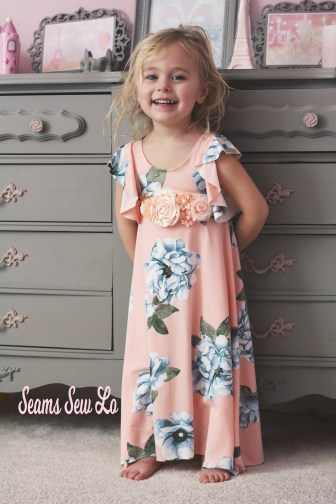 little girls spring dress sewing pattern long flounce sleeve
