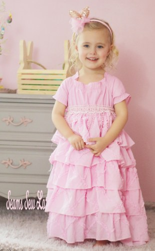 Girls Easter dress sewing pattern by Handmaidens Cottage Petticoat dress pink ruffles