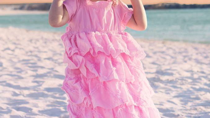 Girls Pink Easter Dress, Handmaiden's Cottage Petticoat Dress Sewing Pattern