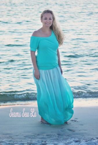 Women's Mya Maxi Skirt Sewing Pattern by Petite Stitchery in Blue Ombre Chiffon Fabric.