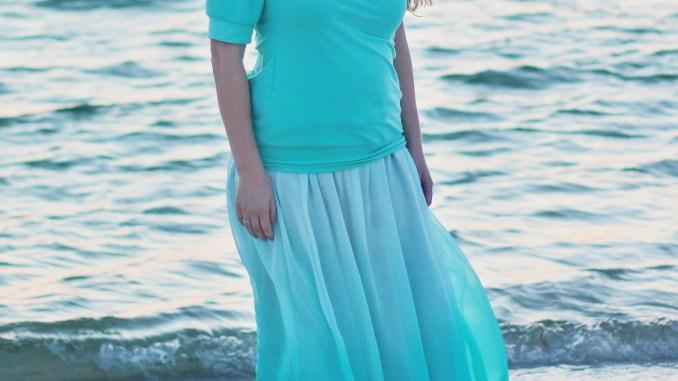 Women's Mya Maxi Skirt Sewing Pattern by Petite Stitchery in Aqua Ombre Chiffon Fabric.