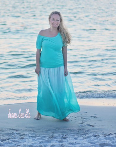Women's Off the Shoulder Top Sewing Pattern by Made for Mermaids. Stella in Mint DBP