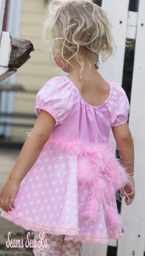 Minnie Mouse dress sewing pattern in pink and white polka dots
