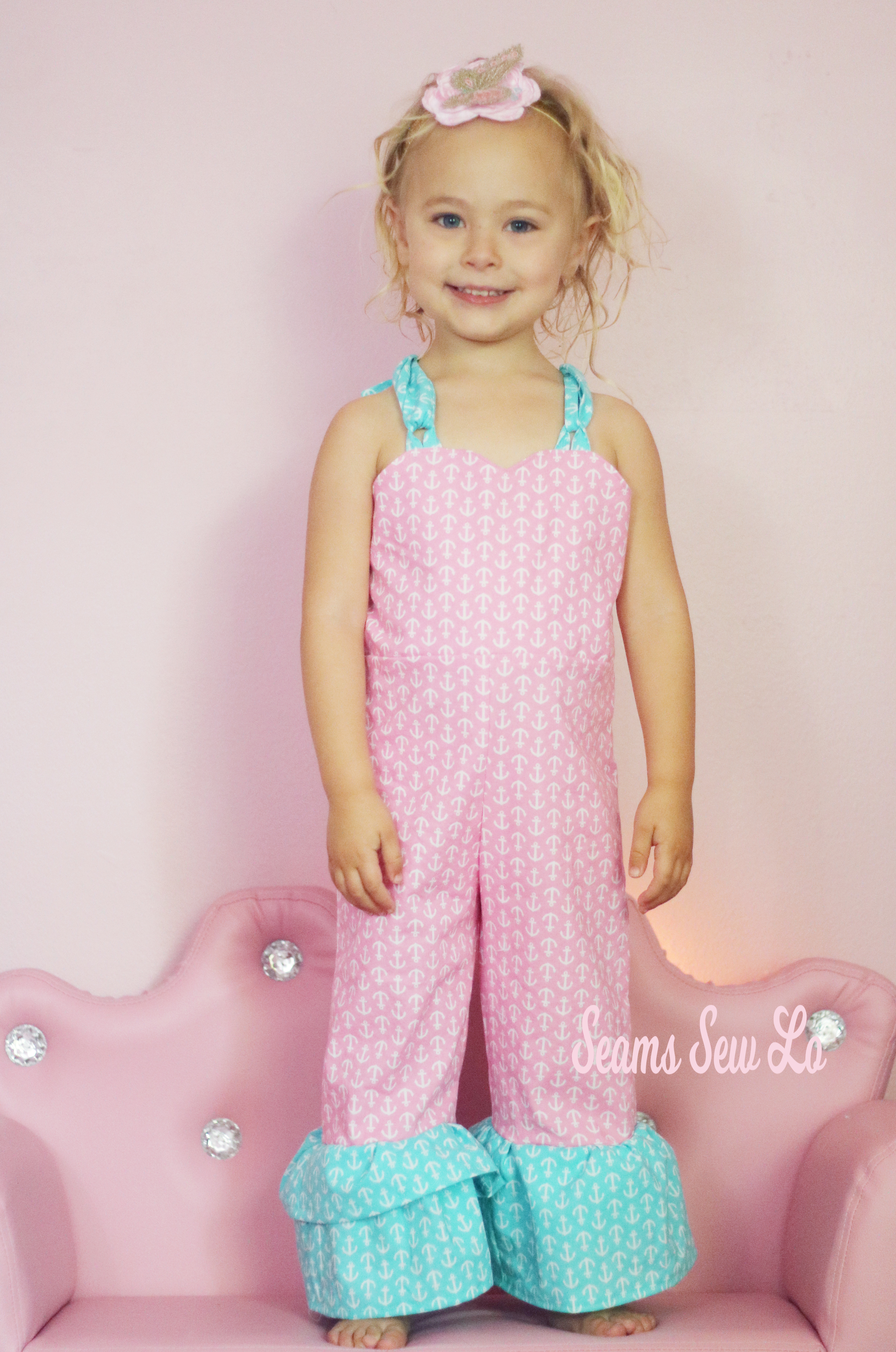 $1 Sewing Pattern Girls Ruffled Romper Be Outstanding by Ellie and Mac