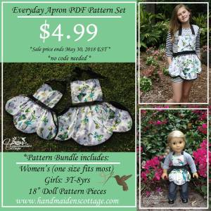 Everyday Apron Sewing Patterns Set Sale for The Handmaiden's Cottage Sew A Long