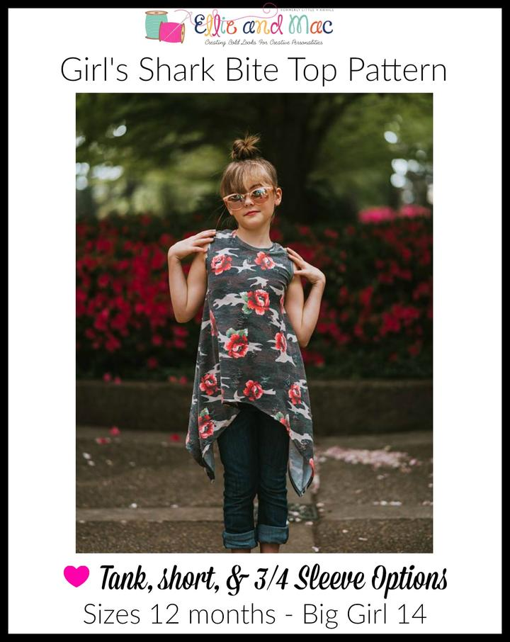 Girls Shark Bite Tank Sewing Pattern Release and Sale by Ellie and Mac