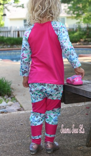 Kids Joggers Sewing Pattern by Ellie and Mac pink and blue butterflies