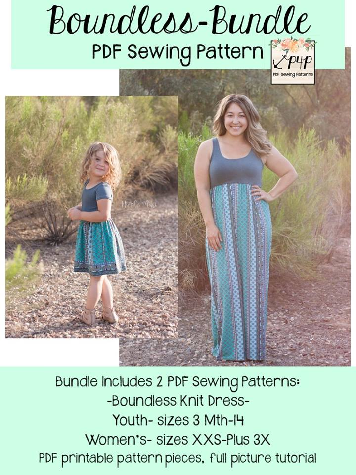 Mommy and Me Boundless Maxi Dress Sewing Patterns Re Release and Sale