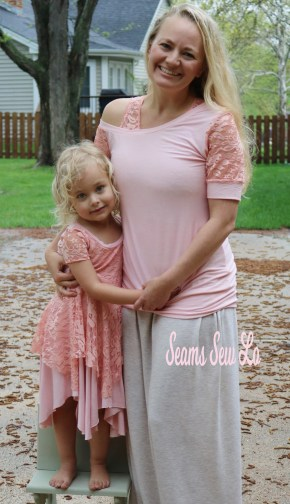 Mommy and Me Sewing Pattens for Mother's Day Peach Lace 2
