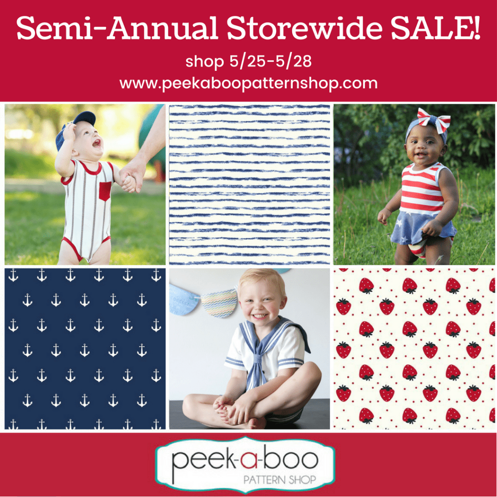 Peek A Boo Semi Annual Sale Save on Sewing Patterns and Fabrics