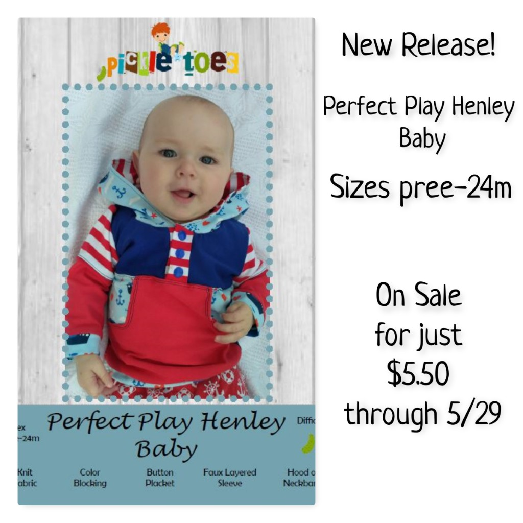 Perfect Play Henley Baby Sewing Pattern by Pickle Toes