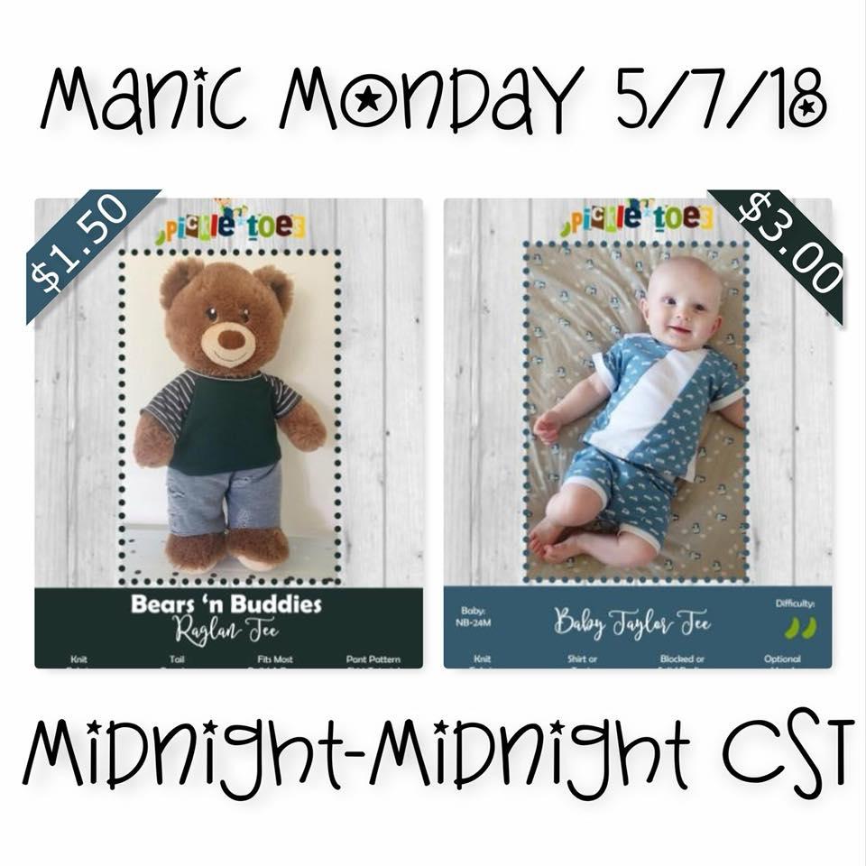 Pickletoes Sewing Patterns Baby Raglan Manic Monday Sale
