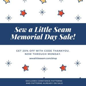 Sew A Little Seam Sewing Patterns Memorial Day Sale