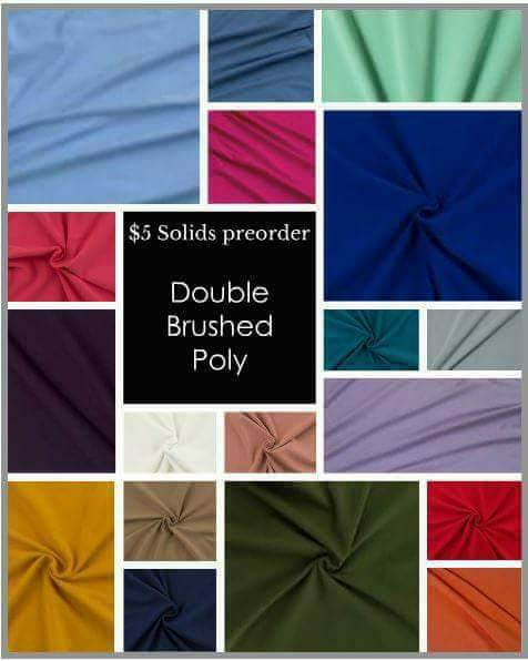 $5 Preorder Double Brushed Polyster by Aurora Design Fabric