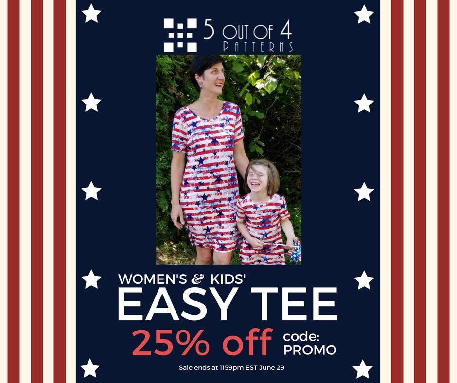 Women's and Kids Easy Tee Sewing Patterns Sale by 5 out of 4 Patterns