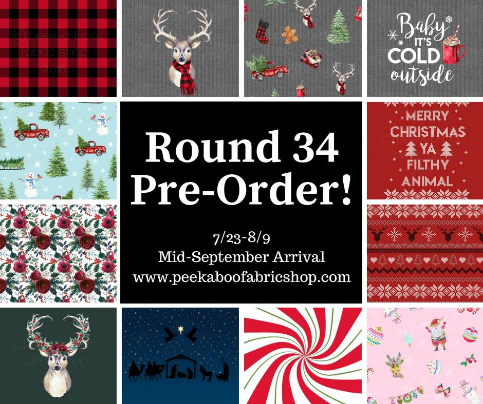 Christmas Fabric Preorder from Peek A Boo Fabric Shop