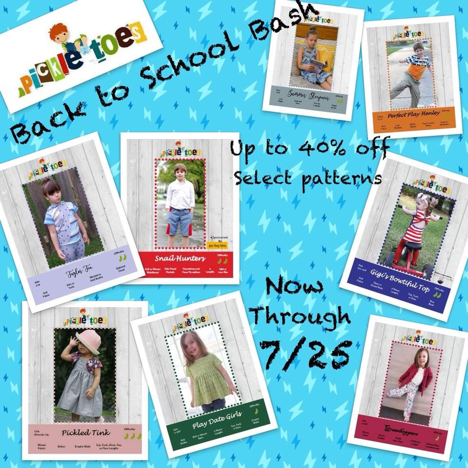 Pickle Toes Sewing Patterns 40% Off Back to School Sale!