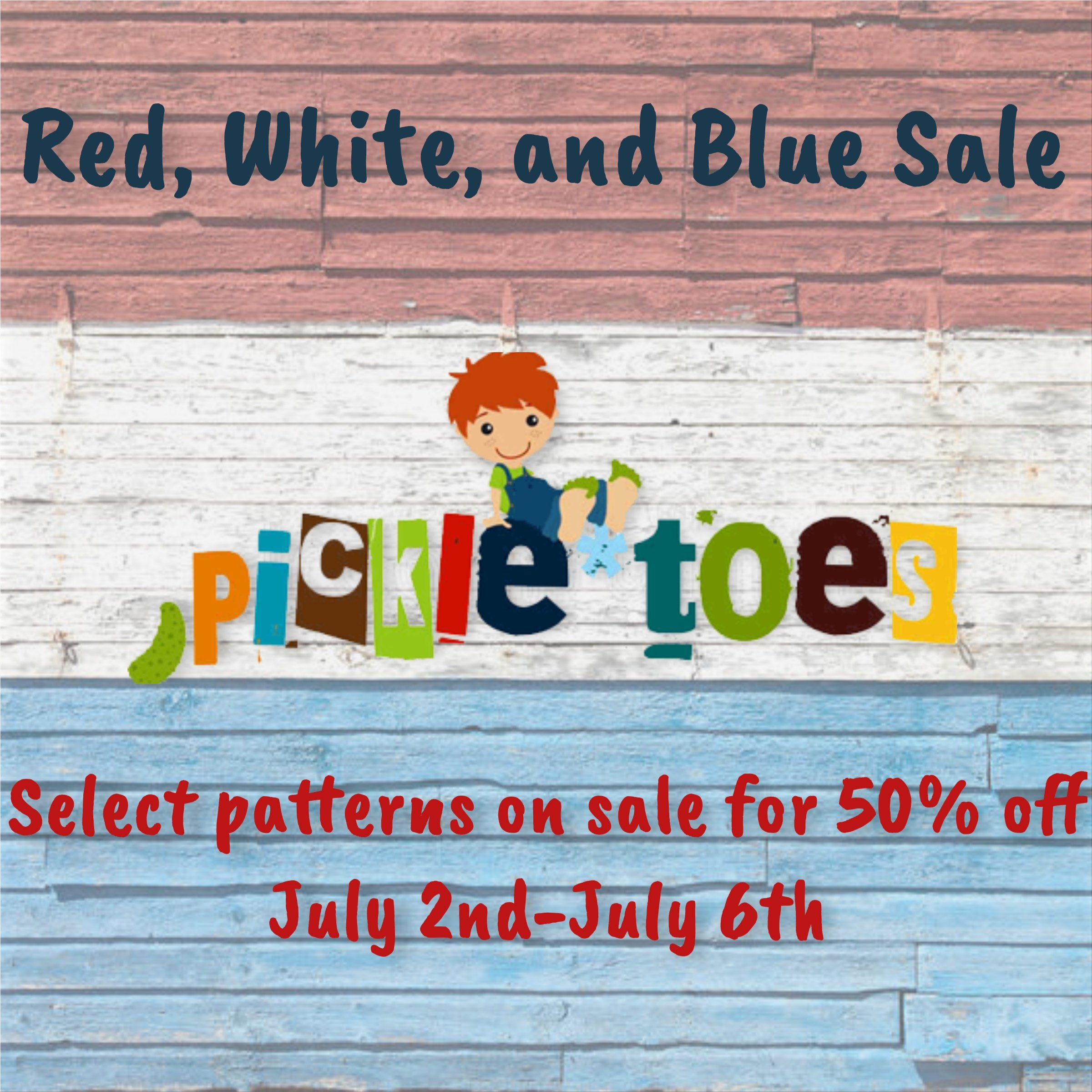 Pickle Toes Sewing Patterns Red White and Blue Sale