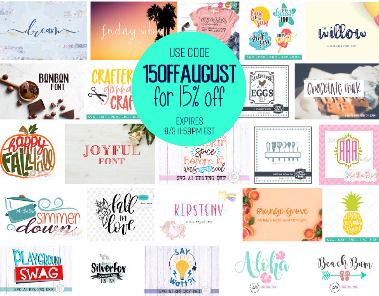Save an extra 15% off August Cut File and Font Bundle Sale