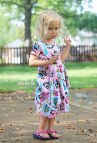 Girls Superhero Dress Sewing Pattern Duck face