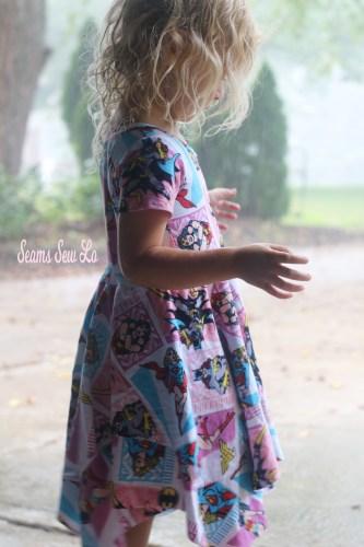 Girls Superhero Dress Sewing Pattern Rainy Day