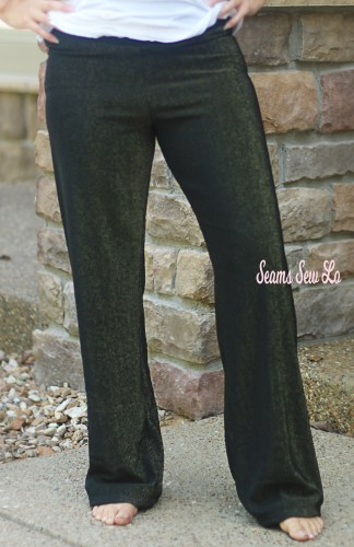 Pippa Pants Yoga Pants Sewing Pattern in Black and Gold Glitter Ponte Fabric Front