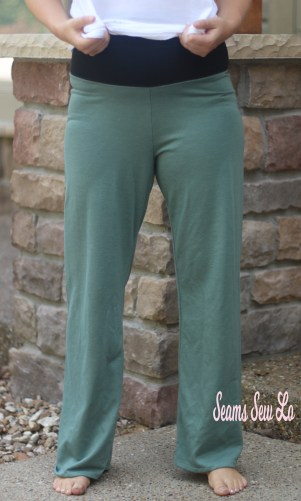 Pippa Pants Yoga Pants Sewing Pattern in Green Glitter French Terry Front