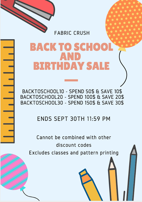 Fabric Crush Back to School and Birthday Sale
