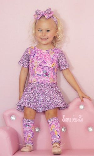 Honeydew Kisses Ocotillo Girls Ballet Leotard Sewing Pattern in Princess Rapunzel Fabric